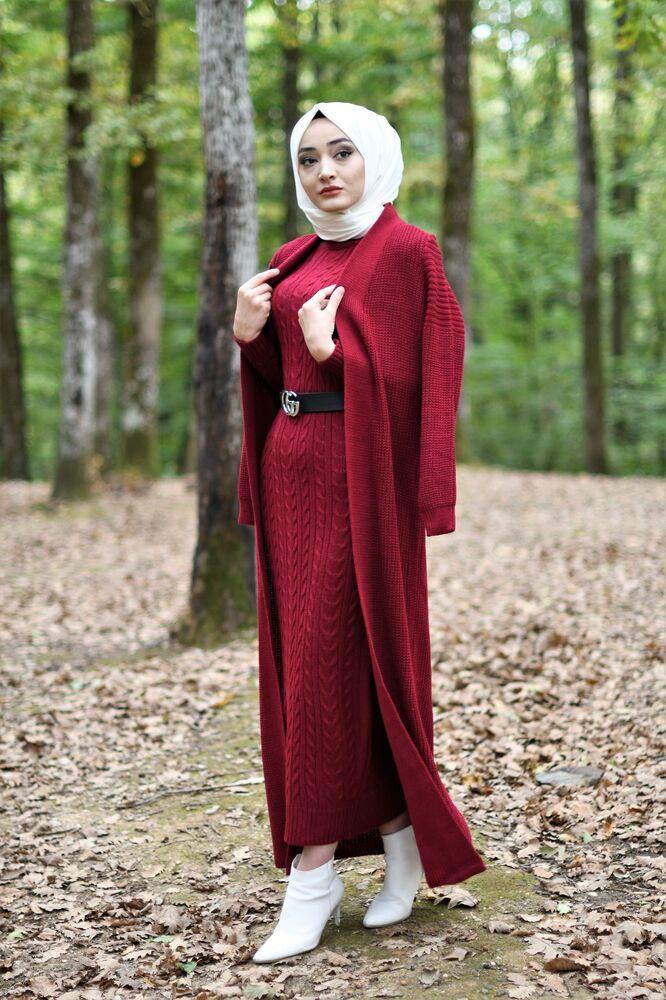 Modam Afra - Hırka Elbise Triko Tesettür Takım - Bordo