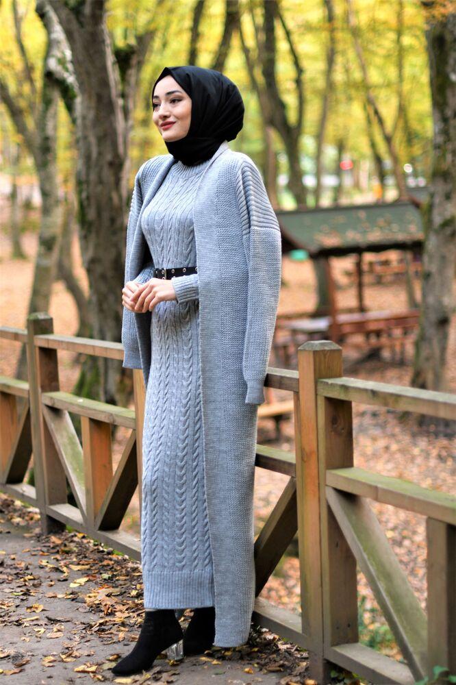 Modam Afra - Hırka Elbise Triko Tesettür Takım - Gri