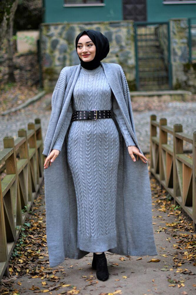 Modam Afra - Hırka Elbise Triko Tesettür Takım - Gri (1)