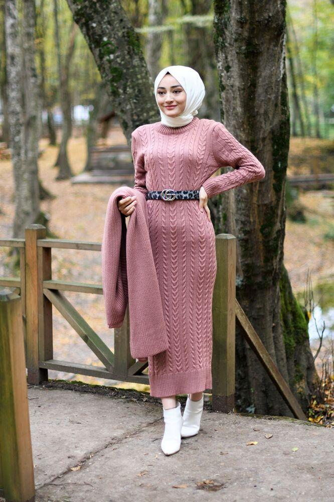 Modam Afra - Hırka Elbise Triko Tesettür Takım - Gül Kurusu (1)