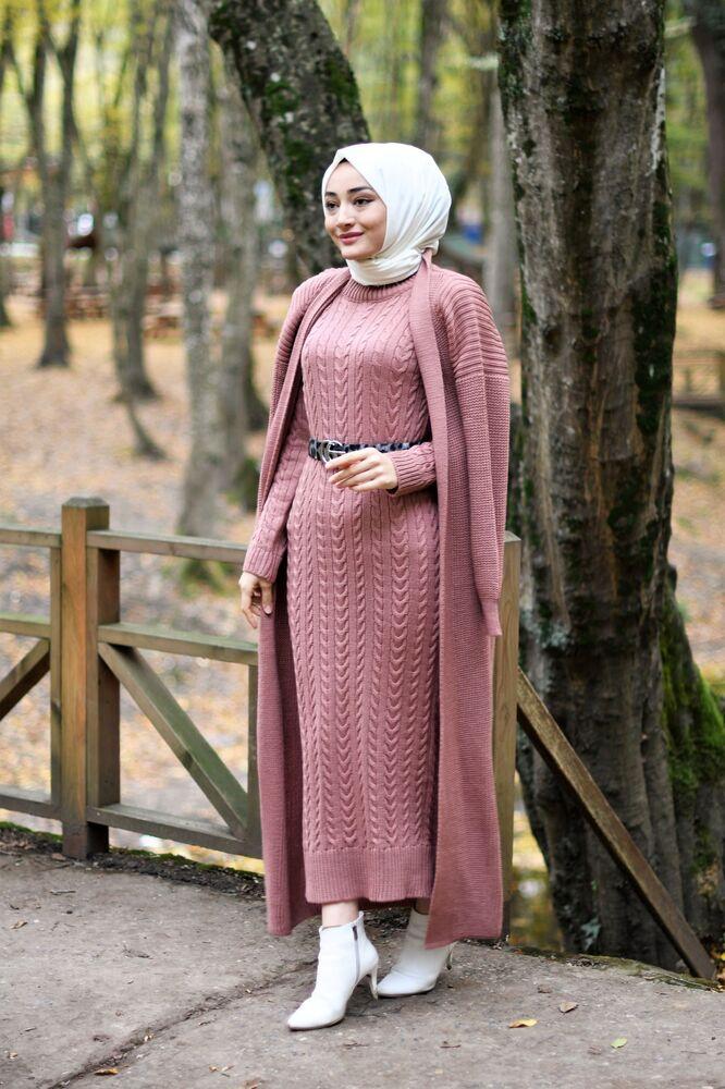 Modam Afra - Hırka Elbise Triko Tesettür Takım - Gül Kurusu