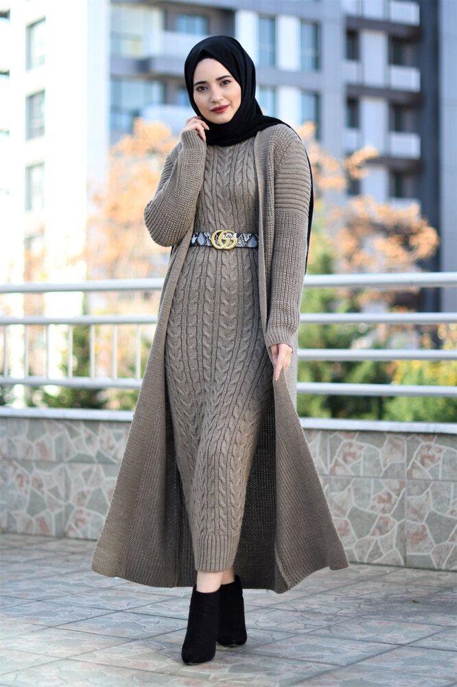 Modam Afra - Hırka Elbise Triko Tesettür Takım - Koyu Vizon (1)