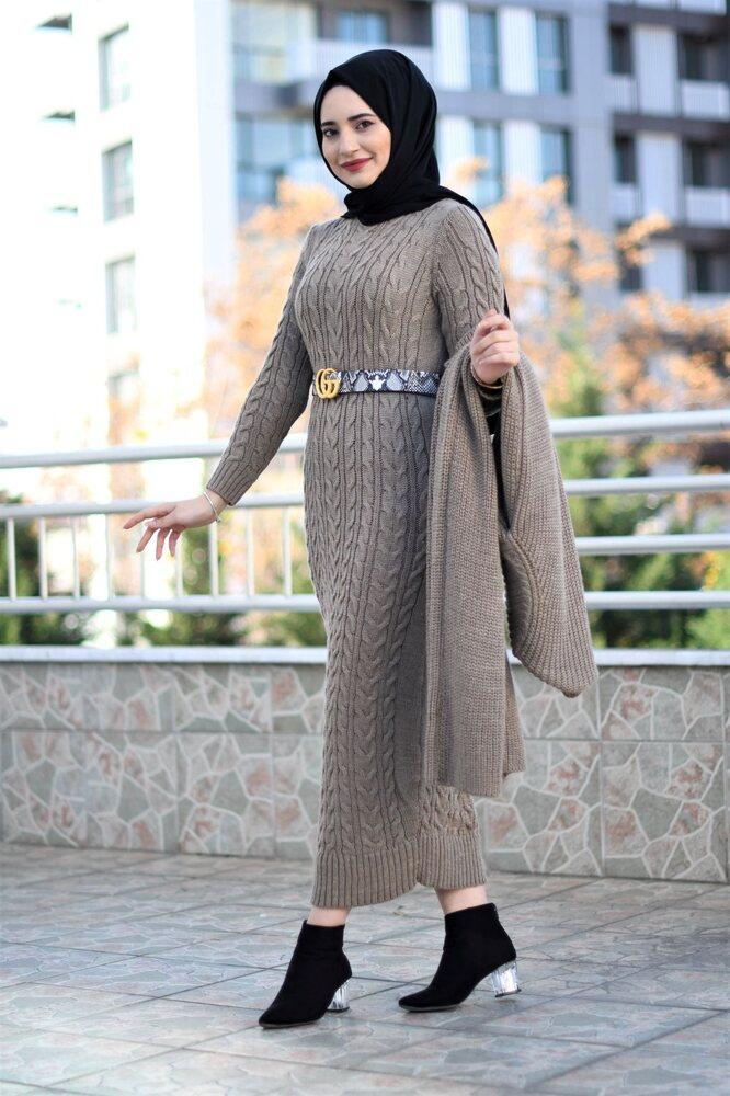 Modam Afra - Hırka Elbise Triko Tesettür Takım - Koyu Vizon