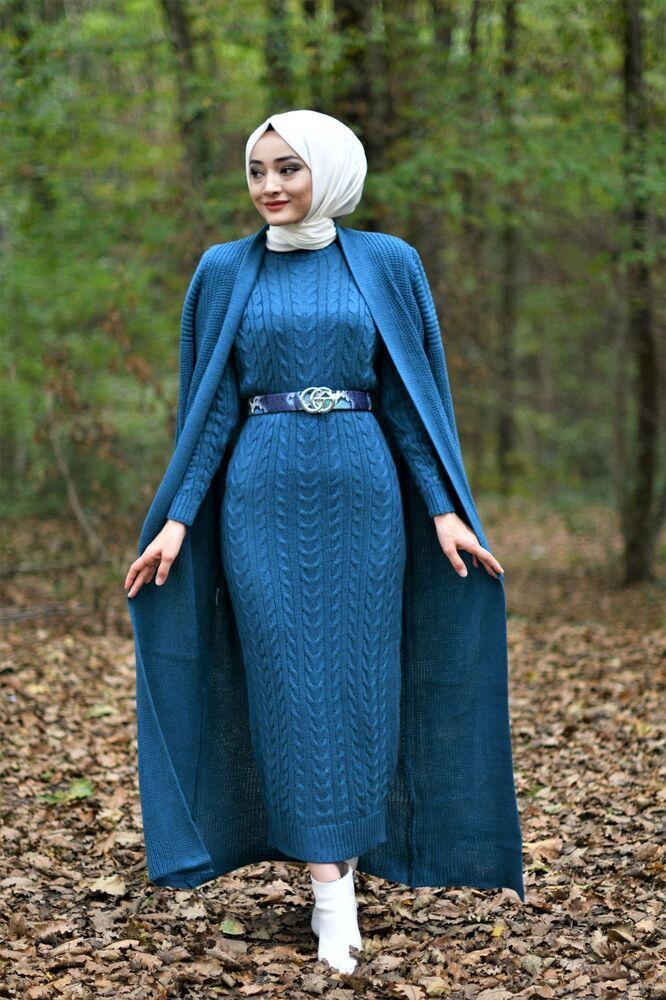 Modam Afra - Hırka Elbise Triko Tesettür Takım - Petrol Mavisi (1)