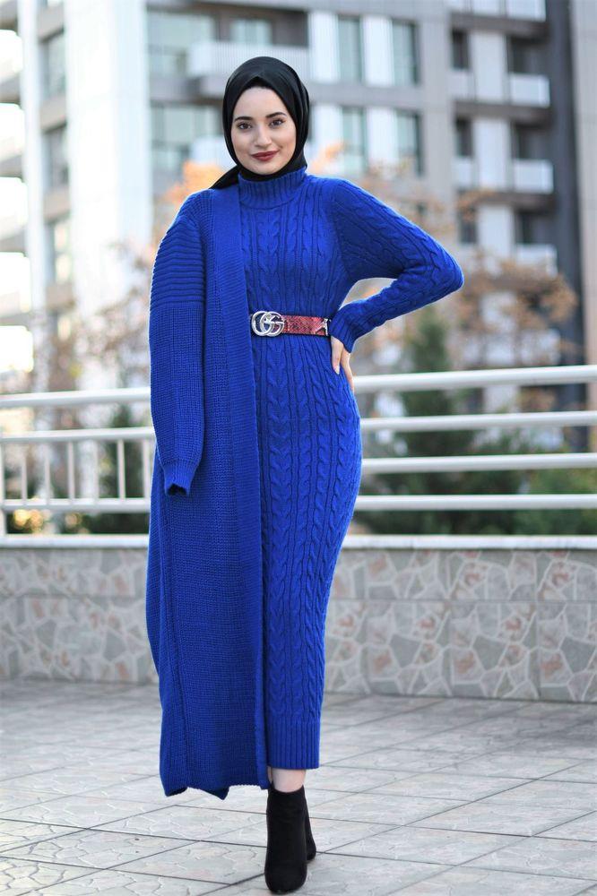 Modam Afra - Hırka Elbise Triko Tesettür Takım - Saks Mavisi