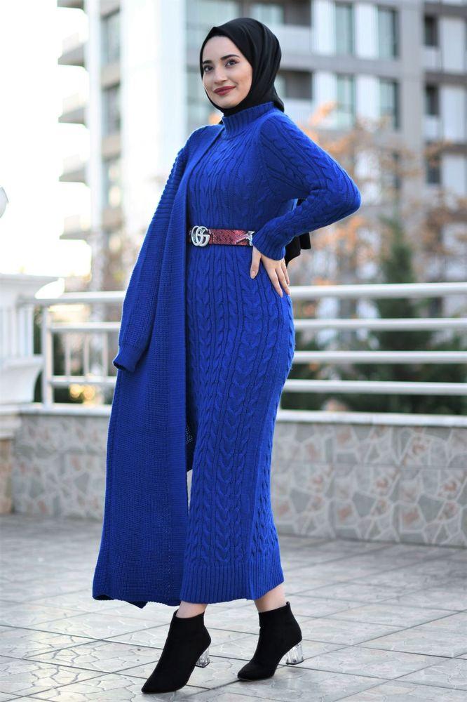 Modam Afra - Hırka Elbise Triko Tesettür Takım - Saks Mavisi (1)