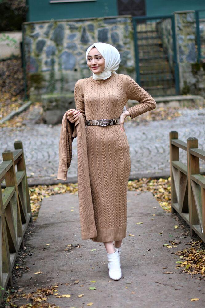 Hırka Elbise Triko Tesettur Takım - Bej - Thumbnail