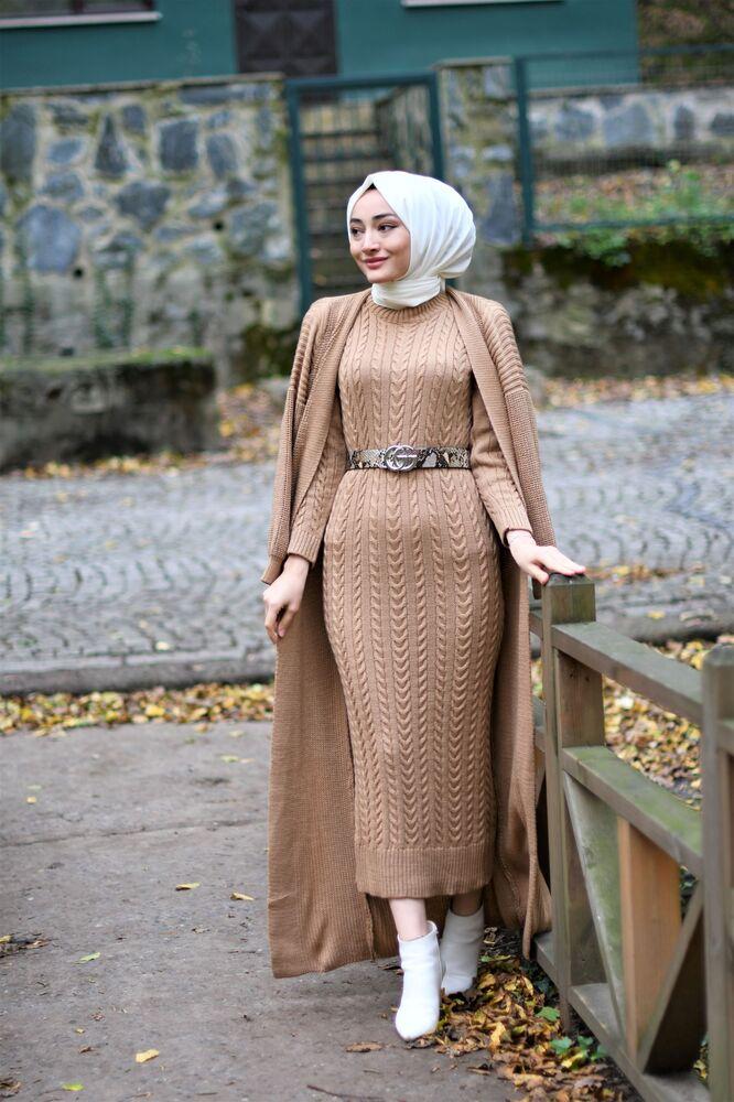Modam Afra - Hırka Elbise Triko Tesettur Takım - Bej (1)
