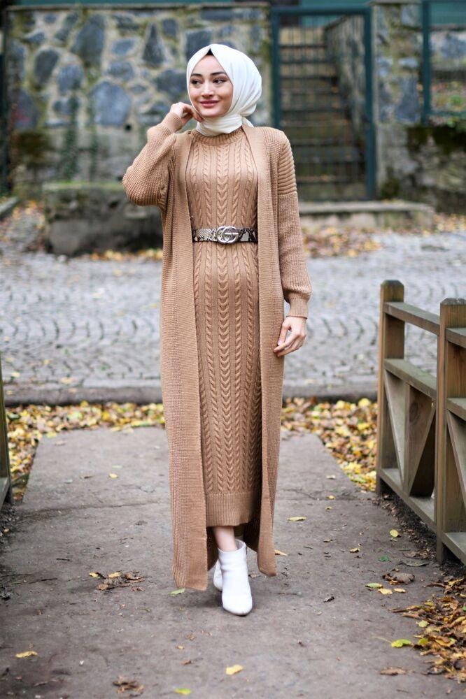 Modam Afra - Hırka Elbise Triko Tesettur Takım - Bej