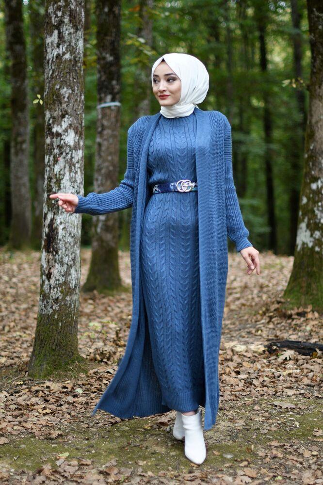 Modam Afra - Hırka Elbise Triko Tesettür Takım - Yeni İndigo (1)