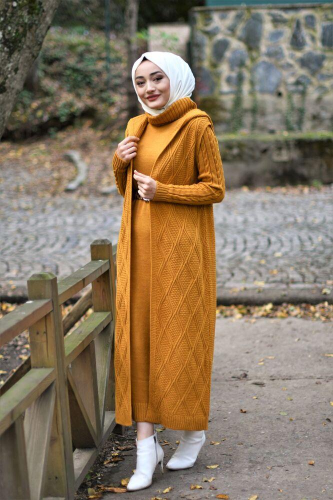 Modam Afra - Kapişonlu Yelekli Takım - Hardal