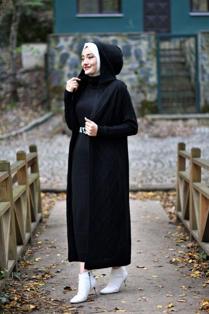 Modam Afra - Kapişonlu Yelekli Takım - Siyah